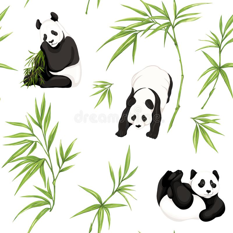 Безшовная картина, предпосылка с пандами и бамбуком иллюстрация вектора