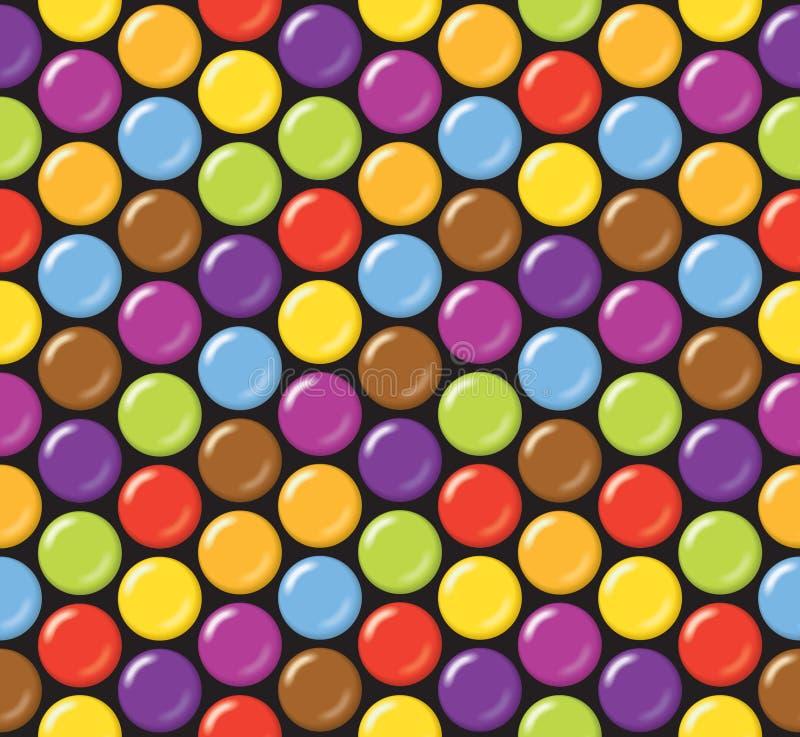 Безшовная картина предпосылки конфеты Конфета покрытая сахаром на черной предпосылке иллюстрация вектора