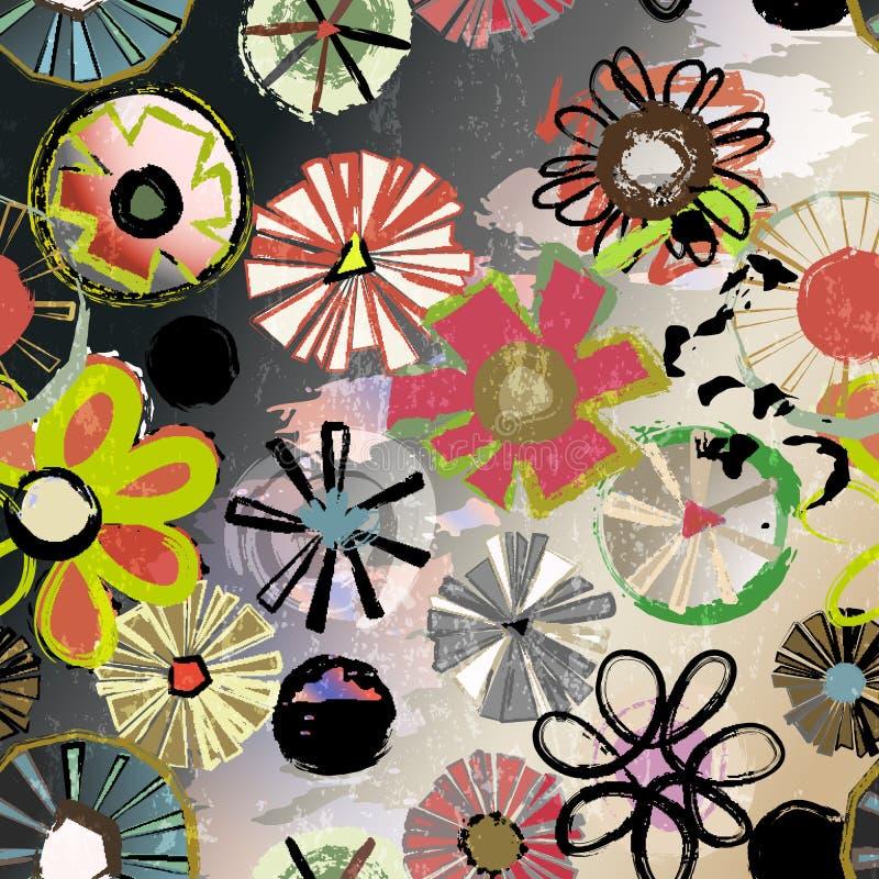 Безшовная картина предпосылки, с абстрактными цветками, иллюстрация штока
