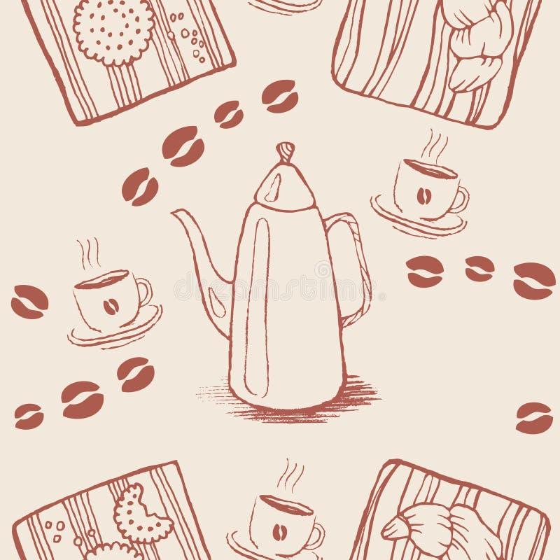 Безшовная картина предпосылки с кофейными зернами и бесплатная иллюстрация