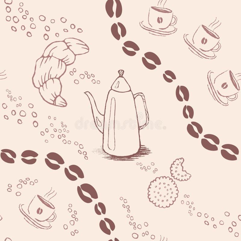 Безшовная картина предпосылки с кофейными зернами и иллюстрация штока