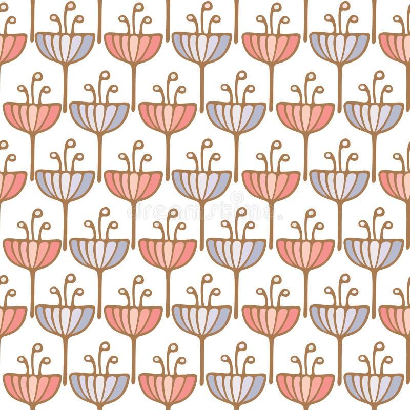 Безшовная картина предпосылки цветка тюльпана иллюстрация вектора