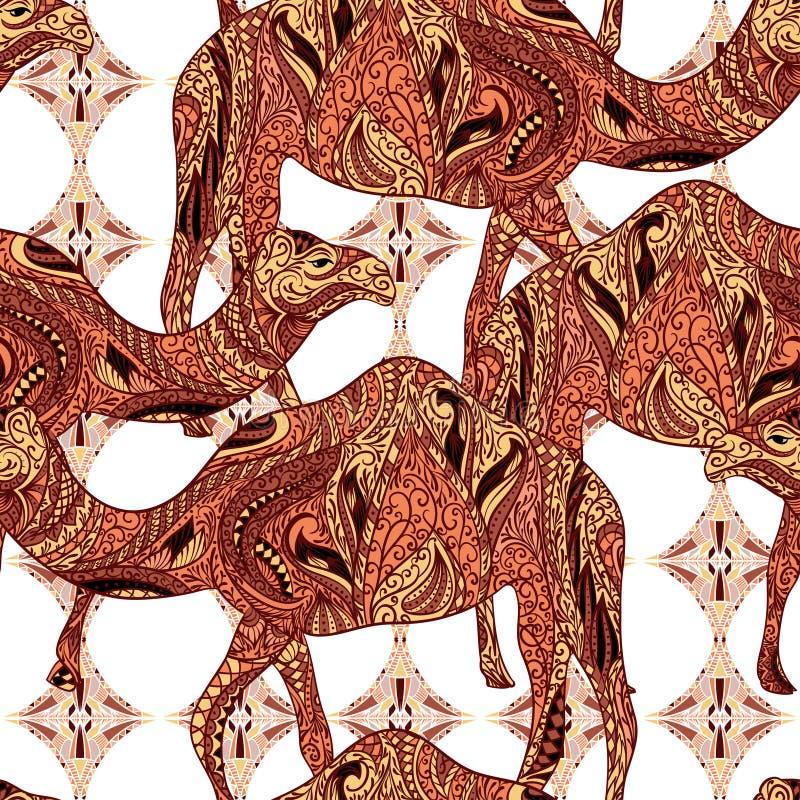 Безшовная картина при верблюд украшенный с восточными орнаментами и орнаментом Египта красочным флористическим бесплатная иллюстрация