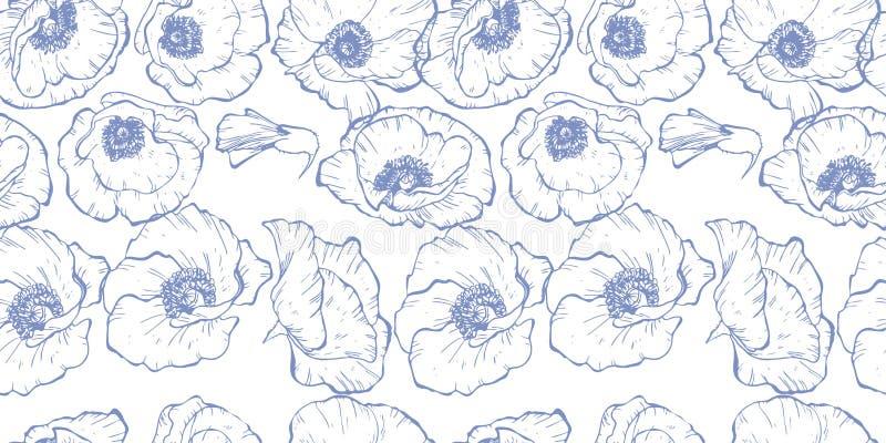 Безшовная картина при оконтуренные синью цветки мака изолированные на белой предпосылке также вектор иллюстрации притяжки corel иллюстрация штока
