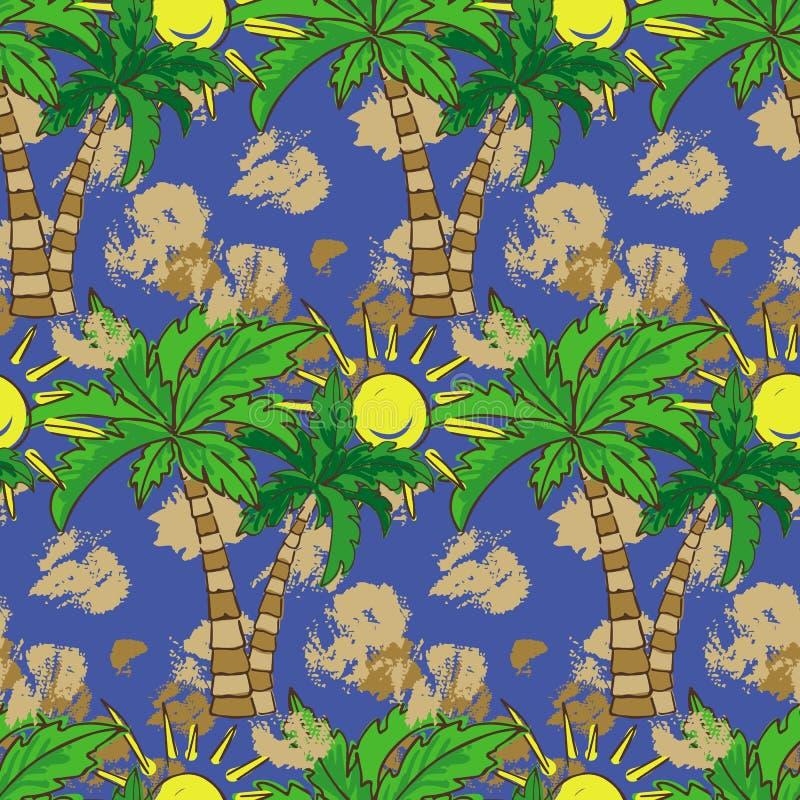 Безшовная картина при печать лета пальм, повторяя текстуру предпосылки иллюстрация вектора