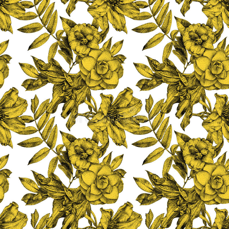 Безшовная картина при различные цветки и заводы нарисованные вручную иллюстрация вектора