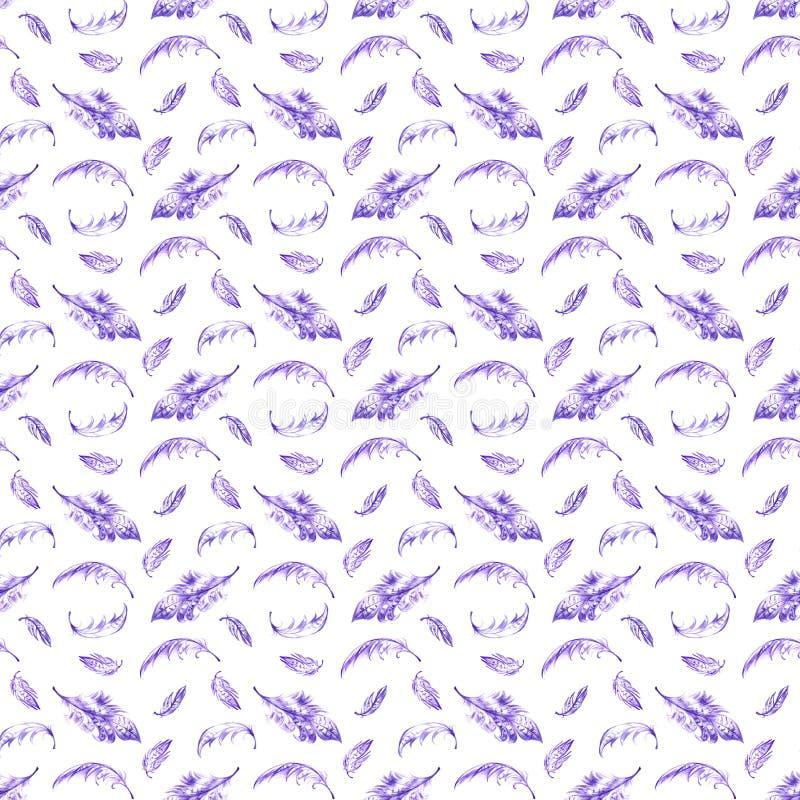 Безшовная картина при фиолетовая нарисованная рука оперяется на белой предпосылке Безшовная текстура с пер в этническом boho бесплатная иллюстрация