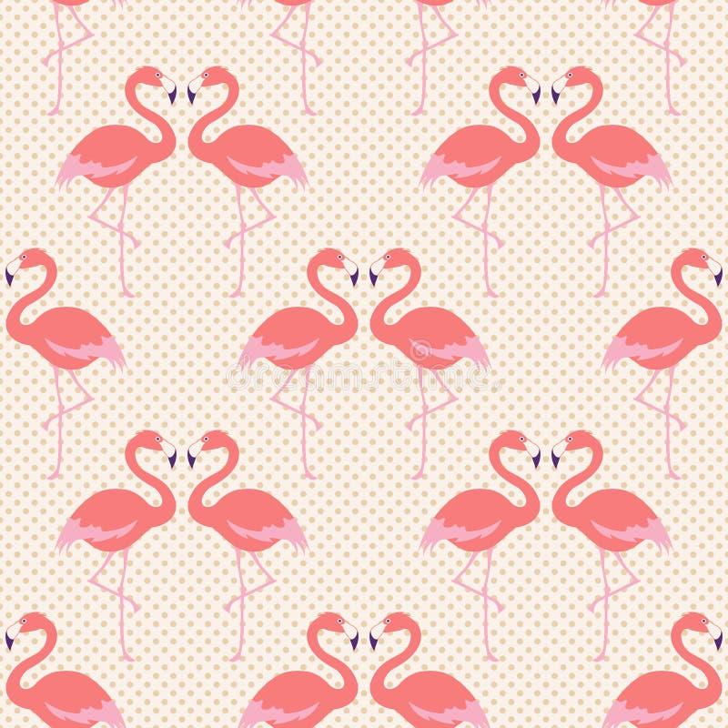 Безшовная картина птицы фламинго иллюстрация штока