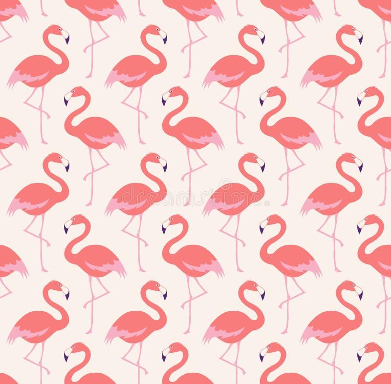 Безшовная картина птиц фламинго иллюстрация штока