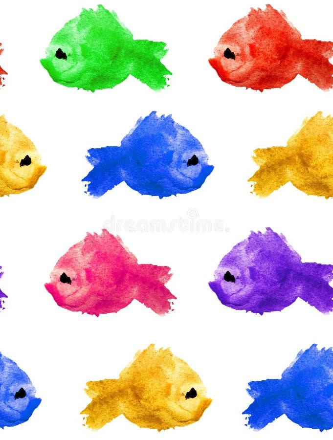 Безшовная картина пятна помаркой акварели пурпурного желтого зеленого голубого красного в форме силуэт рыбы на белой предпосылке иллюстрация штока