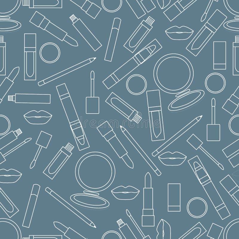 Безшовная картина различных инструментов состава губы Мода очарования иллюстрация штока
