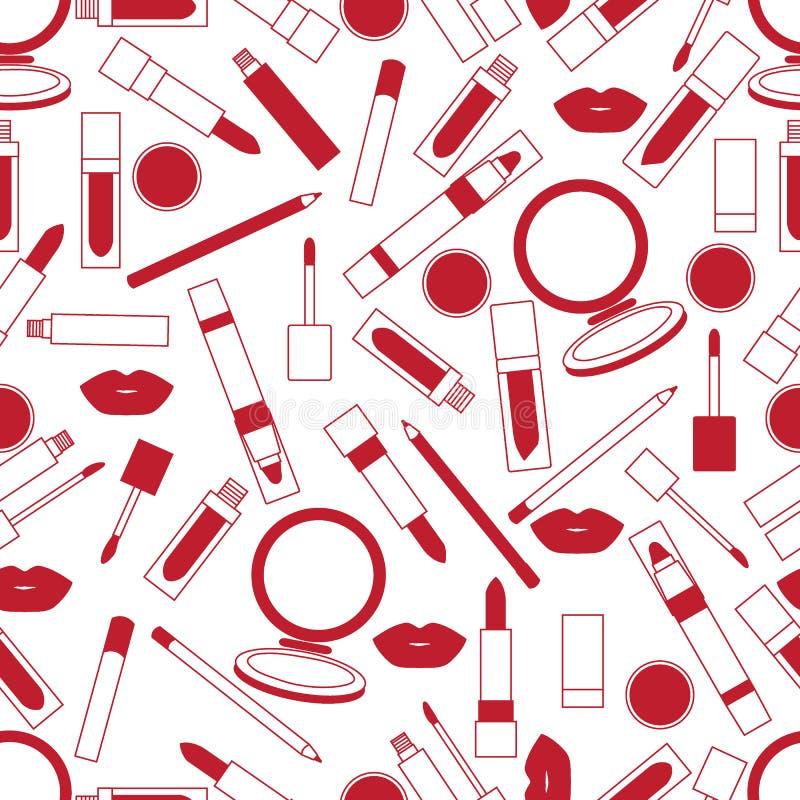 Безшовная картина различных инструментов состава губы Мода очарования иллюстрация вектора