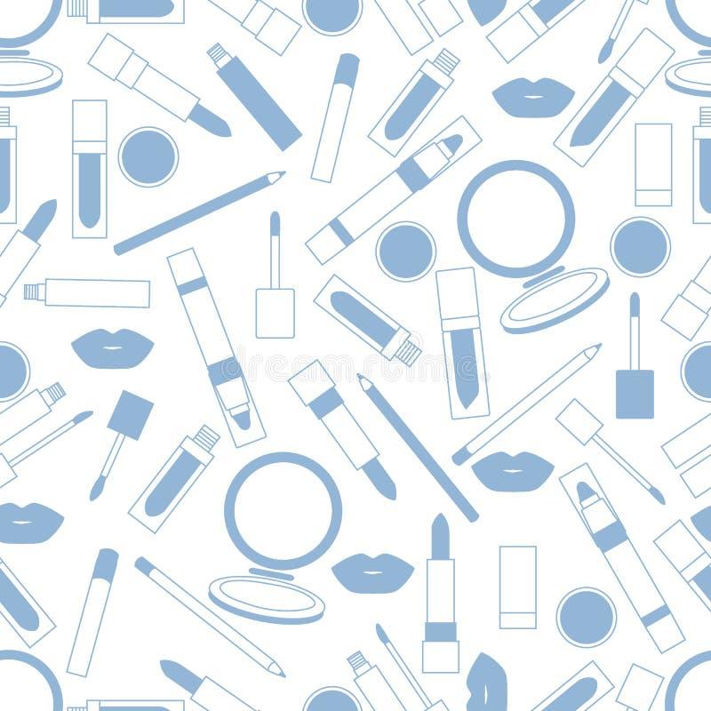 Безшовная картина различных инструментов состава губы Мода очарования бесплатная иллюстрация