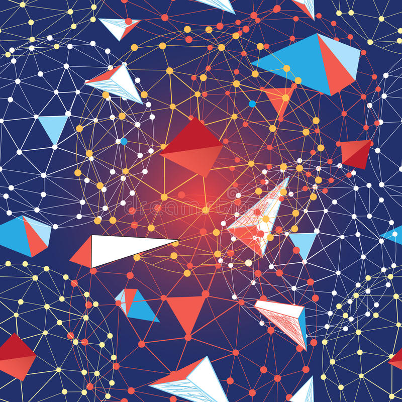 Безшовная картина различных элементов геометрии бесплатная иллюстрация