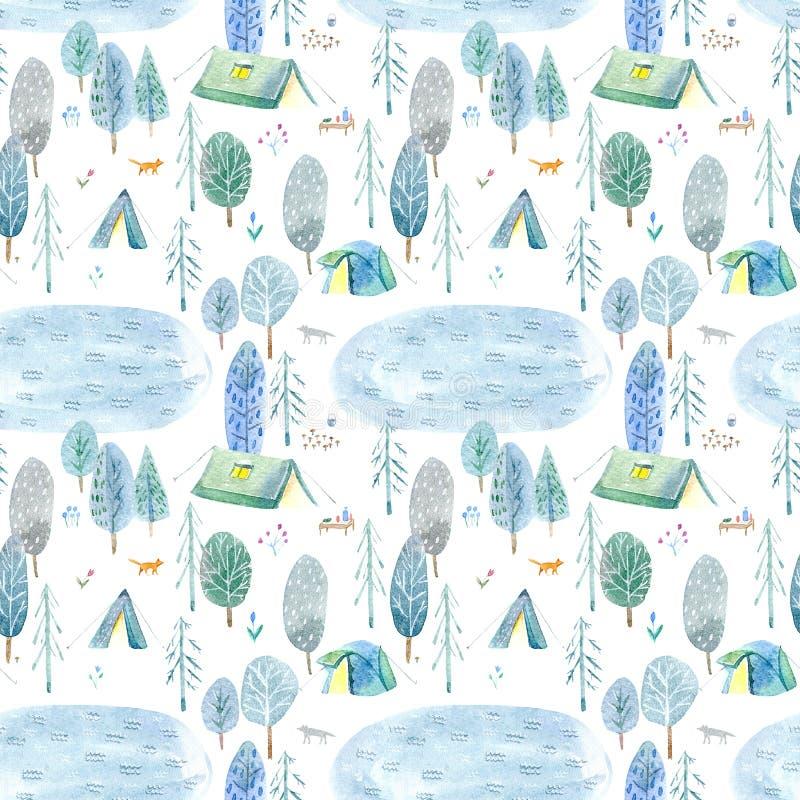 Безшовная картина располагаться лагерем в древесинах и озере иллюстрация вектора