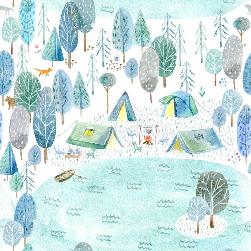 Безшовная картина располагаться лагерем в лесе и озере иллюстрация вектора