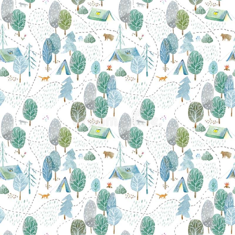 Безшовная картина располагаться лагерем, дорога, лиса, волк, медведь в древесинах иллюстрация штока