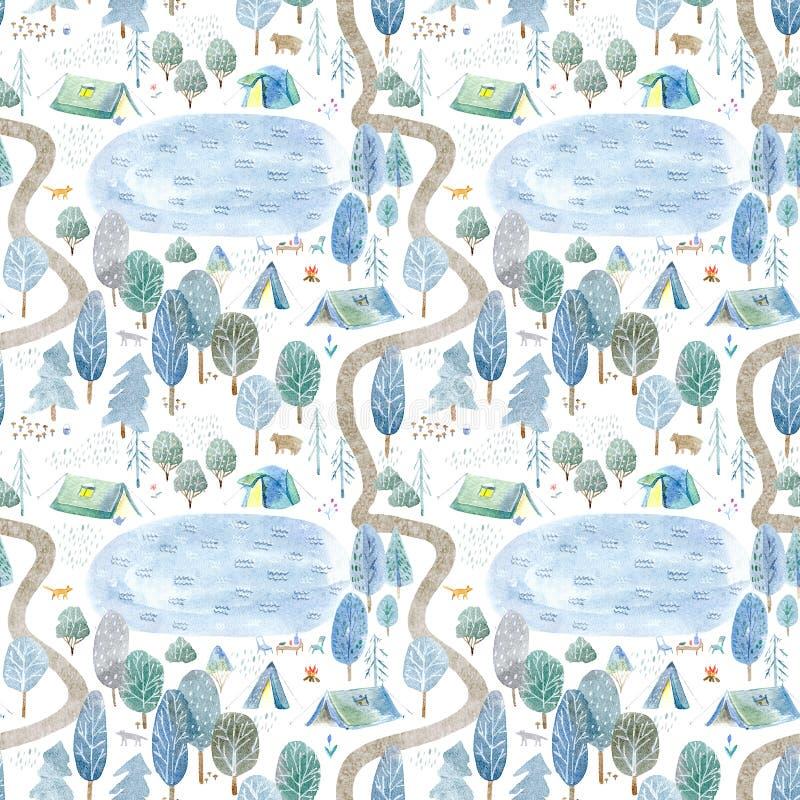 Безшовная картина располагаться лагерем, озеро, дорога, лиса, волк, медведь в древесинах иллюстрация вектора