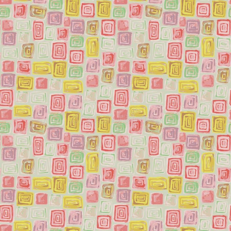 Безшовная картина растра с мозаикой сделанной с красочными плитками квадрата и прямоугольника иллюстрация вектора