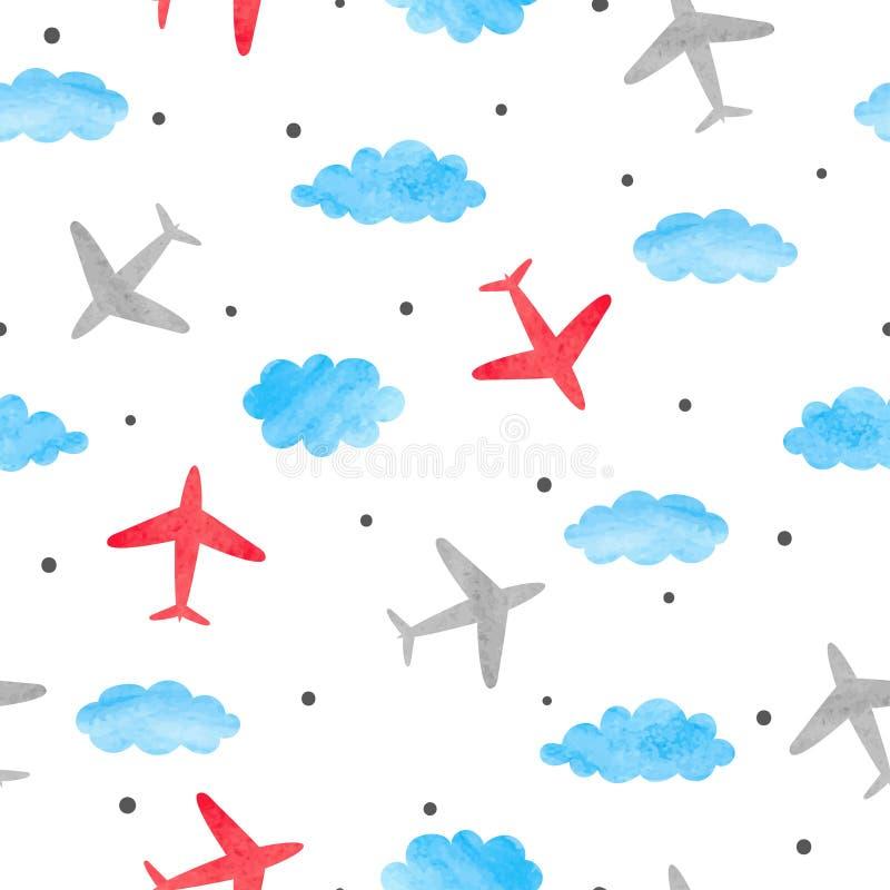 Безшовная картина ребёнка с самолетами и облаками акварели бесплатная иллюстрация