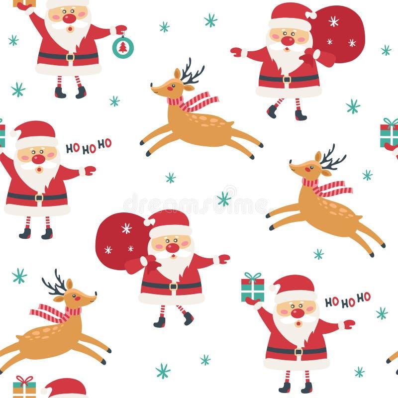 Безшовная картина рождества на белой предпосылке с Санта Клаусом иллюстрация штока