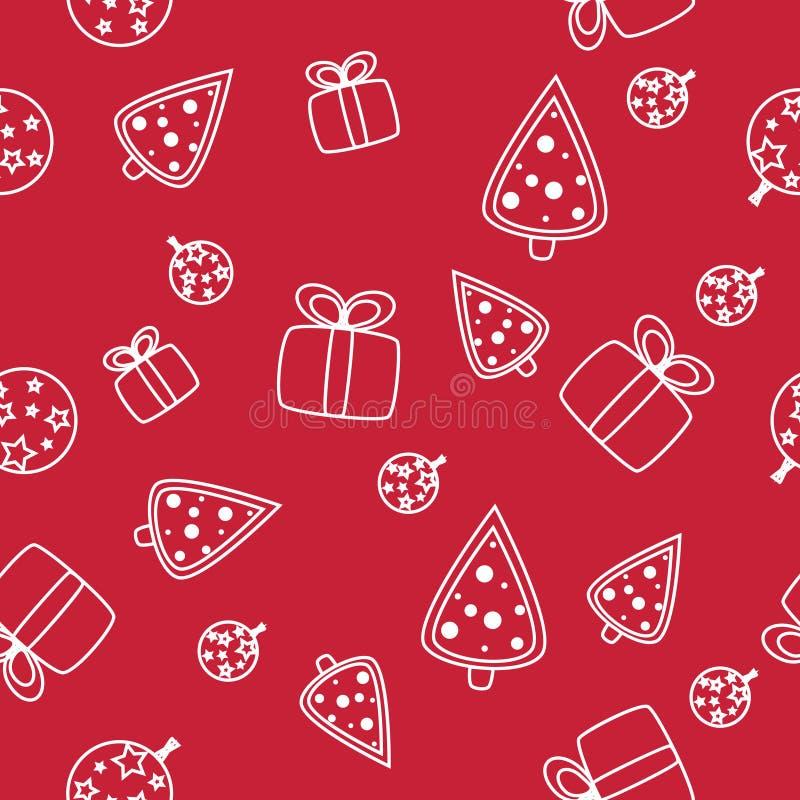 Безшовная картина рождества со снежинками на красной предпосылке иллюстрация вектора