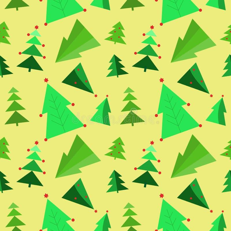 Безшовная картина рождества с зеленым деревом украсила гирлянды, confetti иллюстрация вектора