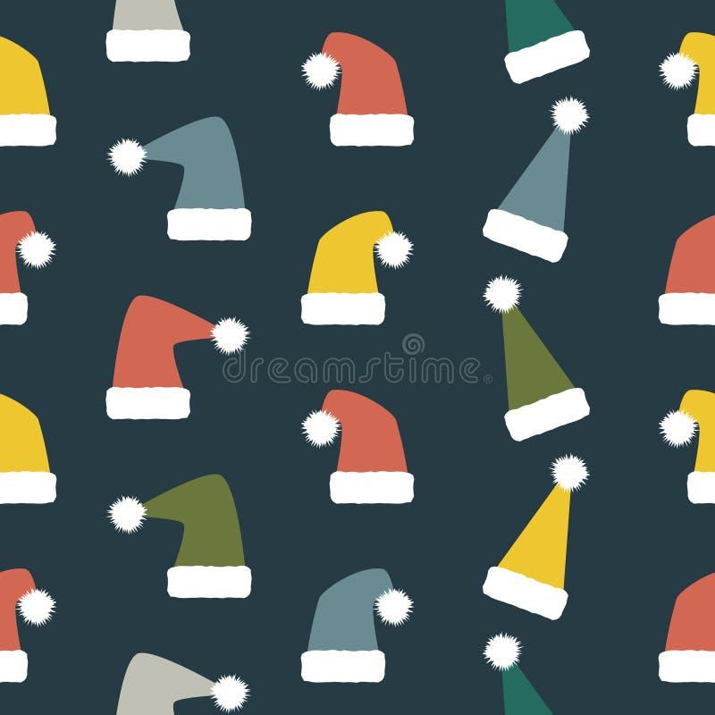 Безшовная картина рождества и Нового Года чудных шляп Санты бесплатная иллюстрация
