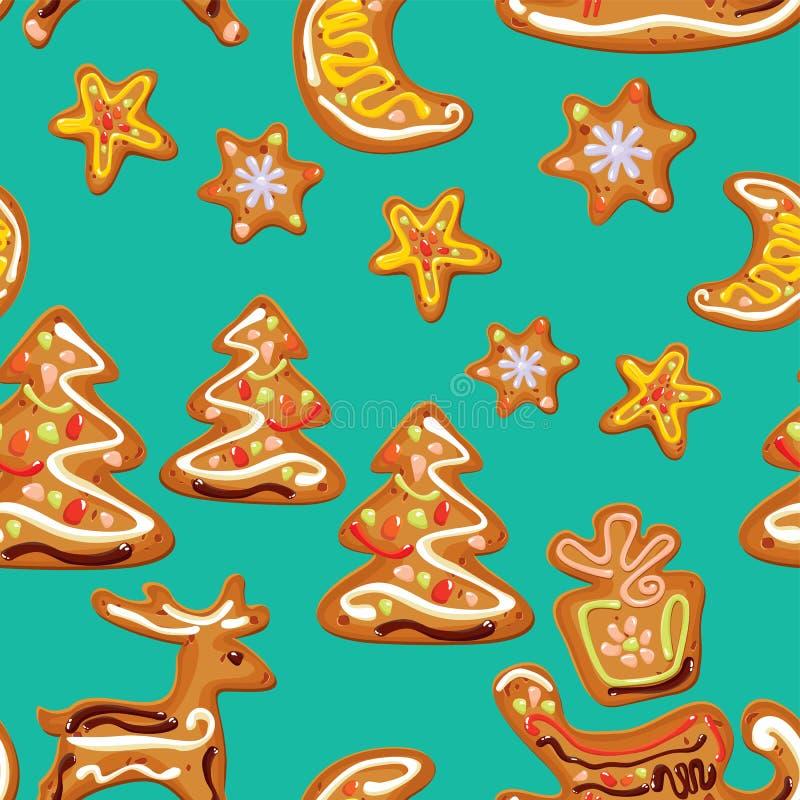 Безшовная картина рождества - пряник xmas иллюстрация штока