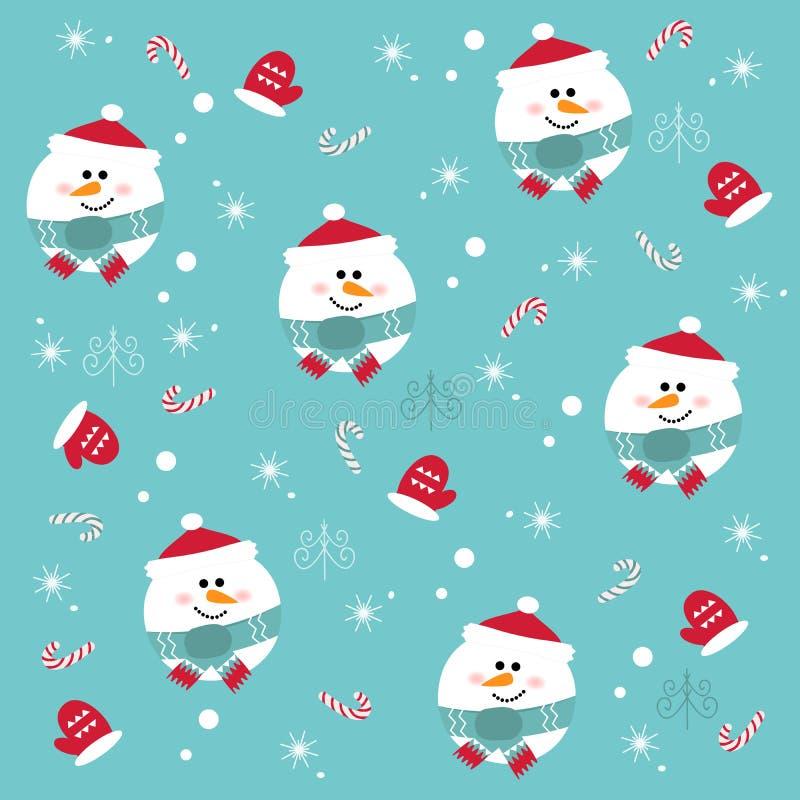 Безшовная картина рождества с снеговиками на голубой предпосылке иллюстрация вектора