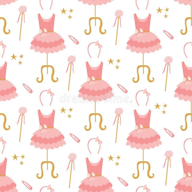 Безшовная картина розовых платьев балетной пачки балерины на манекенах, диапазонах волос, звездах, и волшебных палочках иллюстрация вектора