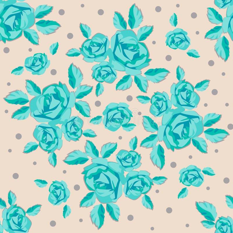 Безшовная картина, розы бирюзы на бежевой предпосылке, венке роз иллюстрация штока