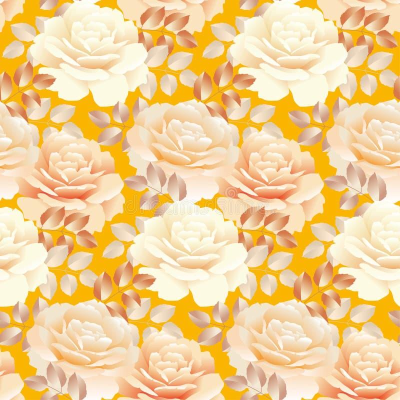 Безшовная картина розы желтого цвета цвета жемчуга бесплатная иллюстрация