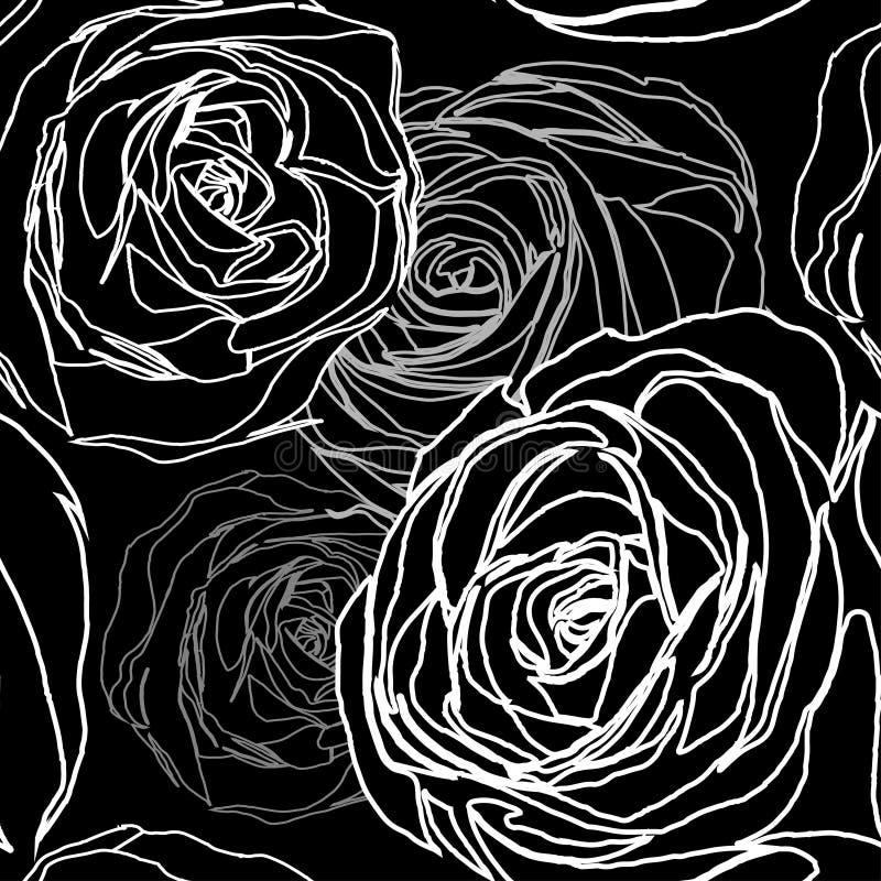 Безшовная картина розы черноты иллюстрация штока