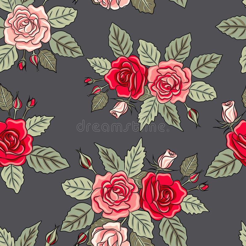 безшовная картина роз с листьями иллюстрация вектора
