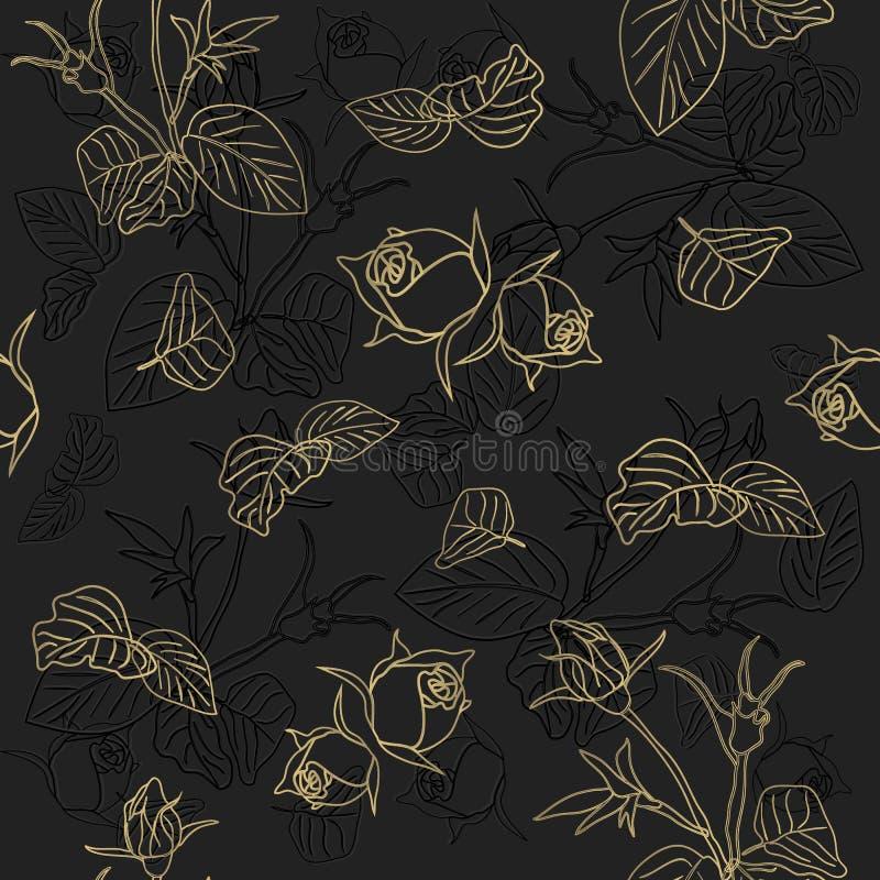 Безшовная картина роскошного розового золота Золотые цветки изолированные на черной предпосылке в стиле минимализма искусство, кр иллюстрация вектора
