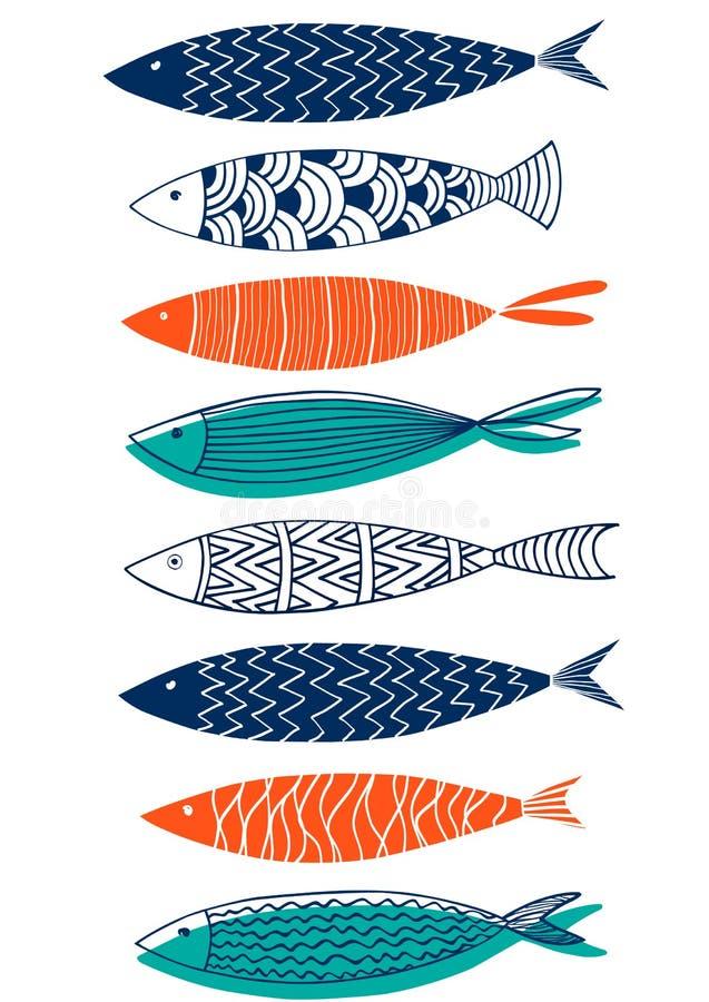 Безшовная картина рыб в стиле doodle иллюстрация вектора