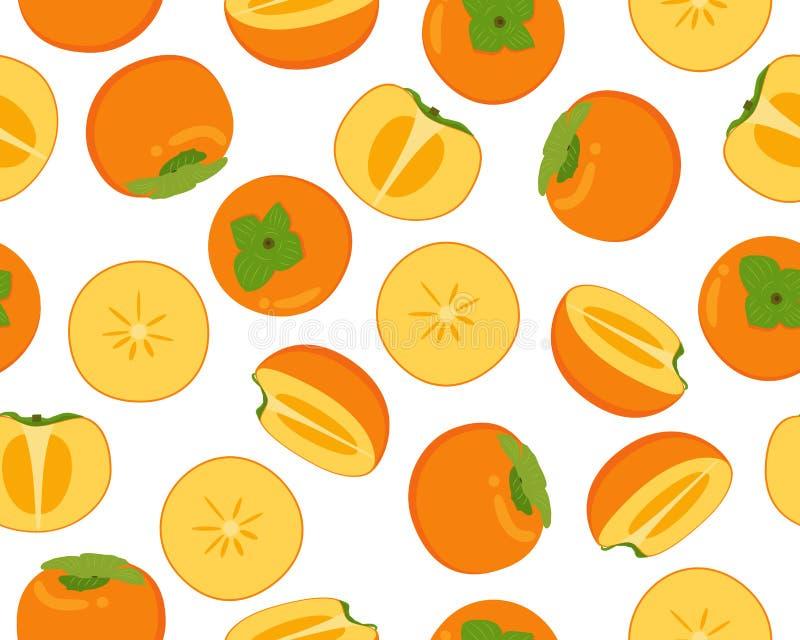 Безшовная картина свежего плода хурмы иллюстрация вектора