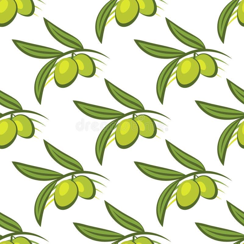 Безшовная картина свежих зеленых оливок на хворостине иллюстрация штока