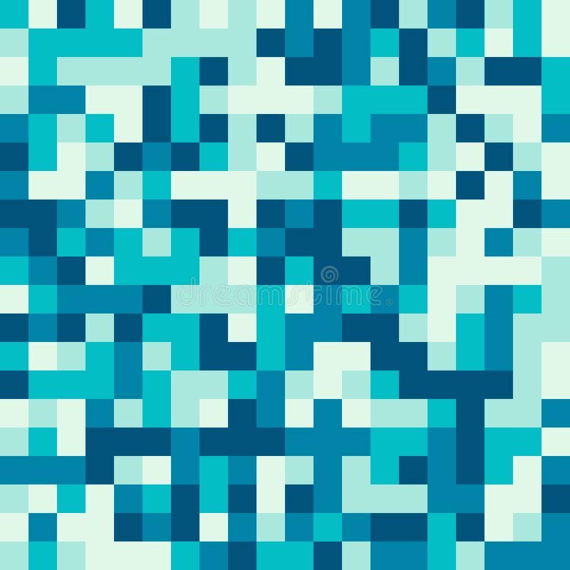 Безшовная картина сделанная из пиксела t элементов сини и воды квадратного иллюстрация штока