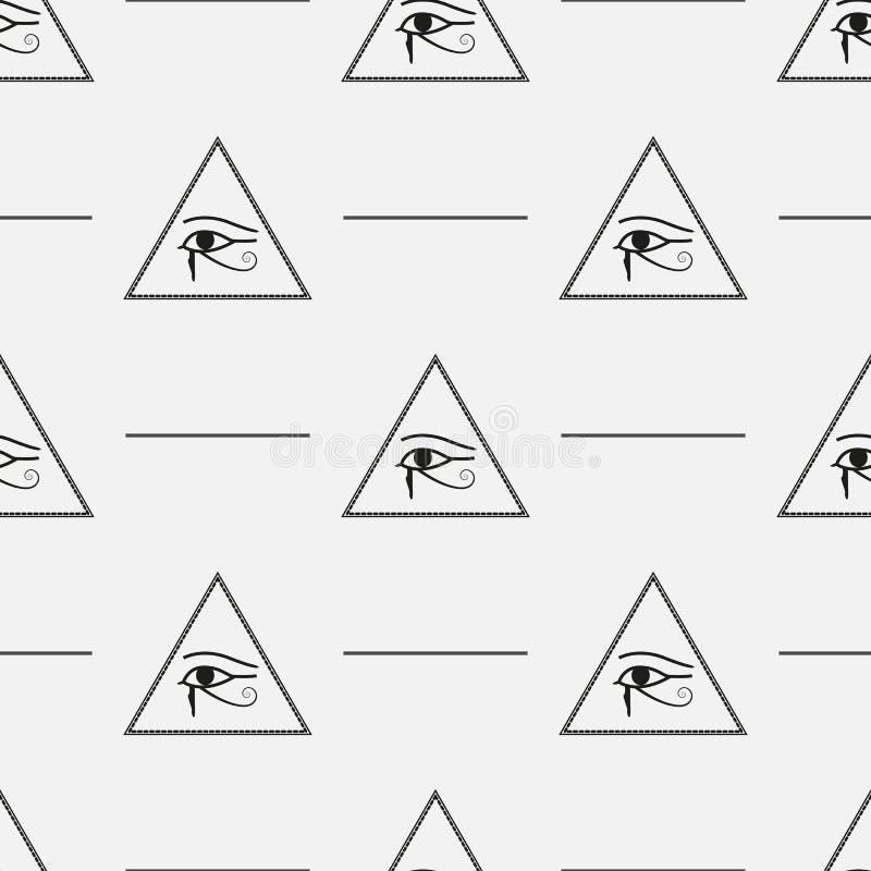 Безшовная картина сделанная от символов каменщика с пирамидами и глазами, eps10 иллюстрация штока