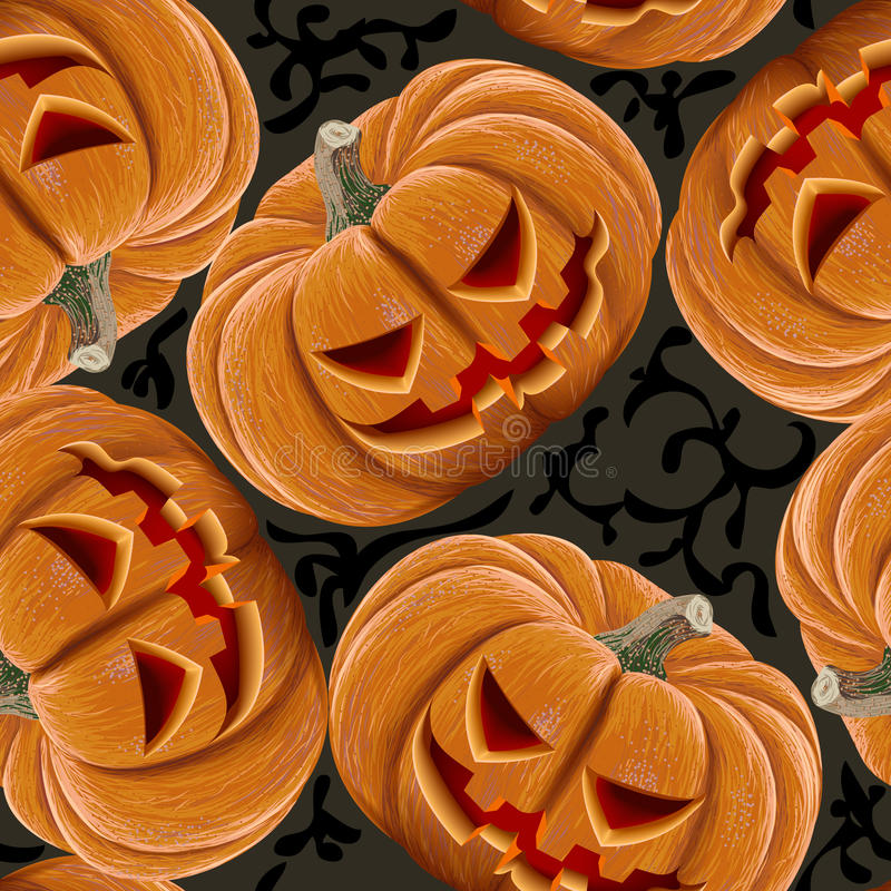 Безшовная картина сердитых тыкв хеллоуина бесплатная иллюстрация