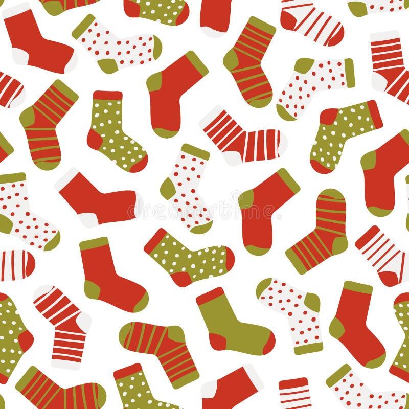 Безшовная картина смешных носков на белой предпосылке Носки рождества Иллюстрация вектора стиля руки вычерченного плоского иллюстрация штока