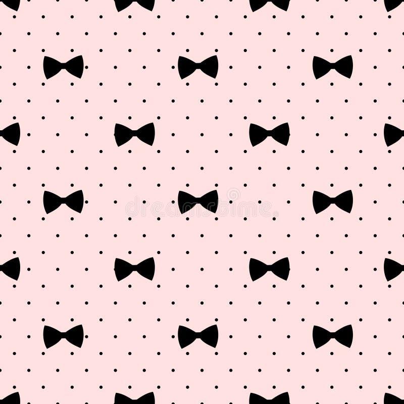 Безшовная картина смычка на предпосылке точек польки Милая иллюстрация моды иллюстрация штока