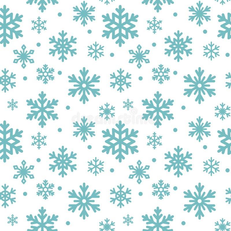 Безшовная картина снежинок зимы, предпосылка вектора Повторенная текстура, поверхность, упаковочная бумага Милый голубой снег иллюстрация вектора