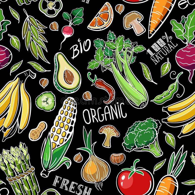 Безшовная картина со здоровыми натуральными продуктами vegan как овощи, плоды, грибы, хлопья иллюстрация штока