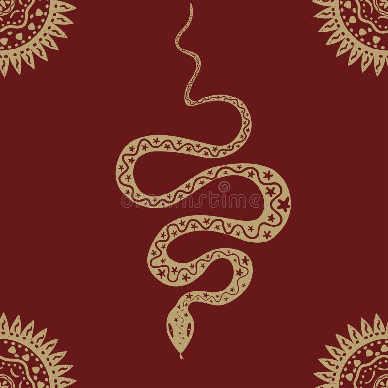 Безшовная картина со змейкой и солнцем Красный и желтый Картина вектора этническая иллюстрация вектора