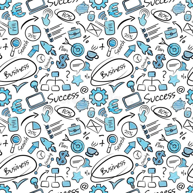Безшовная картина со значками дела в стиле doodle Смешная текстура финансов для офиса или печати Обои руки вычерченные безшовные иллюстрация штока