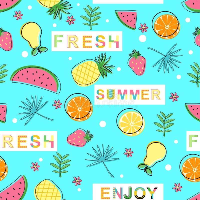 Безшовная картина со свежими фруктами на голубой предпосылке - иллюстрации вектора, eps бесплатная иллюстрация