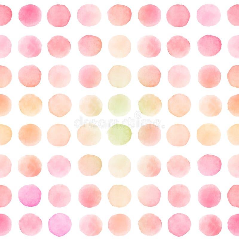 Безшовная картина со светлыми ходами щетки красной, розовой и желтой акварели круглыми стоковые фото